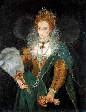 Elizabeth I in den späten 1590er Jahren (CC BY-NC-SA 2.0, flickr, picture by Lisby) Mode Tudor Elisabethianisch