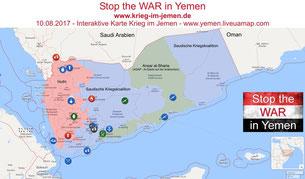Jemen - Besetzte Gebiete nach Kriegsparteien Stand 08-2017