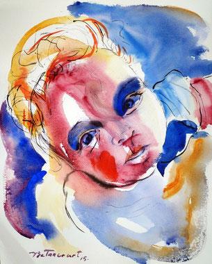 L'enfant, aquarelle sur papier