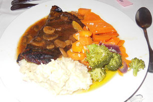 Sirloin Steak Served with a Mushroom Demi-Glaze