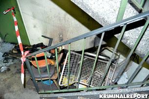 Tatort Zwinglistraße, drei verletzte Personen nach Brand im Treppenhaus.
