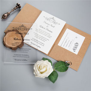 Acrylglas Karte, Pocketfold Karte, Kraftpapier, Kraftkarton