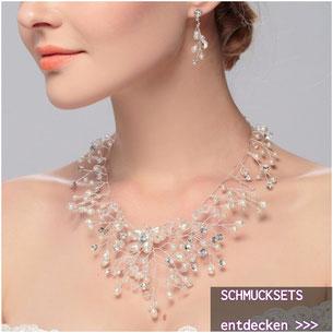 Schmucksets - Brautschmuck Set Strass Perlen
