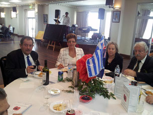 Members from the Greek ex Serviceman's Association at the official table