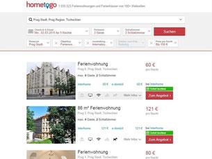 Die Webseite «hometogo» bietet ein übersichtliches Angebot an Ferienwohnungen. Dafür durchsucht der Dienst 100 Reise-Webseiten. Foto: www.hometogo.de