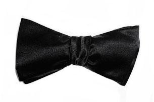 Herren Anzug Fliege schwarz Seide zum selbstbinden - Schleife  aus schwarzer Seide