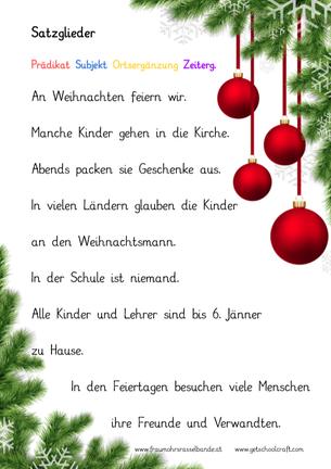 Zu Weihnachten.Satzglieder Erkennen Zu Weihnachten Fraumohrsrasselbandes Webseite