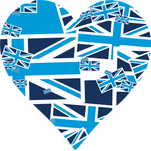 Light and Dark blue heart Union Jack Flags collaged in contemporary colours vinyl wall art sticker from www.wallartcompany.co.uk