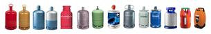 Alignement de bouteilles de gaz de différents formats