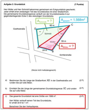 Teilaufgabe 3 aus der Matheprüfung 2012 Berlin-Brandenburg mit eigenen Markierungen