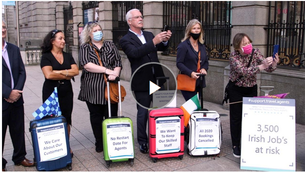 Travel agents have protested outside Leinster House, claiming the industry is on the brink of collapse due to a combination of Government advice against non essential travel, the green list and the 14 day quarantine rule. Video: Bryan O'Brien