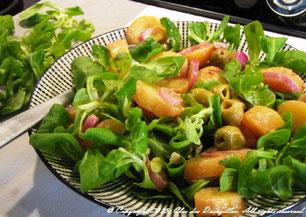 Salade de pomme de terre, mâche et échalotes du Clos