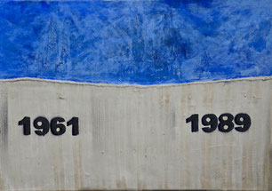 Eastwall, die Mauer, Berlin, DDR, Trennung, Betonarbeiten, Graffity, Acryl, Stadtbild, Hintergrund, Beton auf Leinwand, Jahreszahlen, Osten, Divo Santino, Gedenken, Mahnung