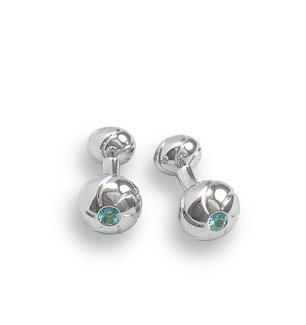 Silber Manschettenknöpfe blaue Steine