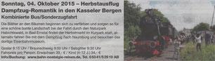 Dampfzug-Romantik in den Kasseler Bergen