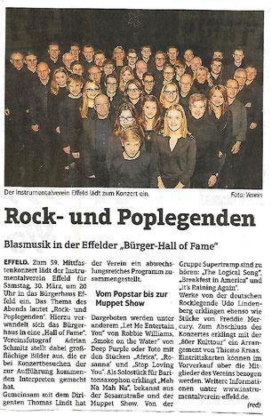 Ankündigung Mitfastenkonzert Instrumentalverein Effeld 2019 mit dem Titel Rock und Poplegenden