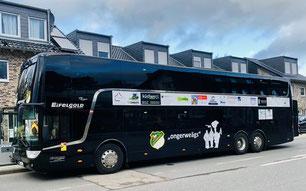 Unser Sessionsbus 2019, mit dem wir sicher und bequem von Auftritt zu Auftritt kommen. Mit freundlicher Unterstützung von Eifelgold Reisen und unseren Sponsoren.