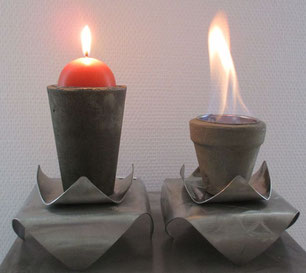 brasero en béton et inox pour bougie ou éthanol, indoor, outdoor