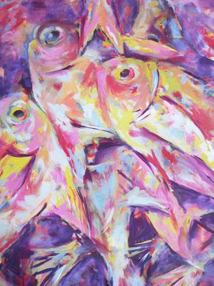 Fische III - Acryl auf Leinwand - 80x100 cm - 2013