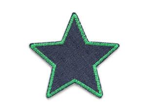 Bild: Stern Flicken zum aufbügeln, Jeansflicken grün, nachhaltig Hosen reparieren, Aufnäher Bügelflicken