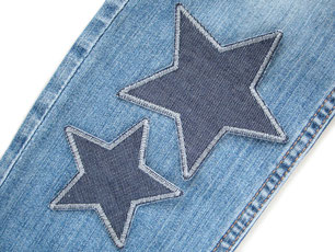 Bild: Jeansflicken Stern grau, Hosen nachhaltig reparieren, Aufnäher Flicken zum aufbügeln