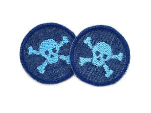 Jeans patch Totenkopf skull mini hellblau Bügelflicken