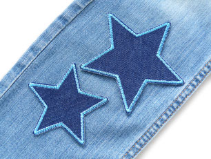 Bild: Jeansflicken Stern blau, Hosenflicken zum aufbügeln für Kinder