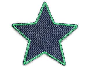 Bild: Flicken zum aufbügeln Stern dunkelblau grün, Bügelflicken für Jeanshose