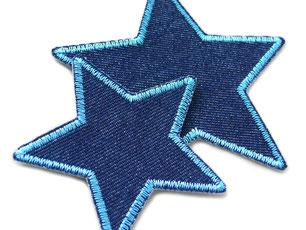 Bild: Stern Flicken zum aufbügeln blau, Jeansflicken in Sternform Aufnäher