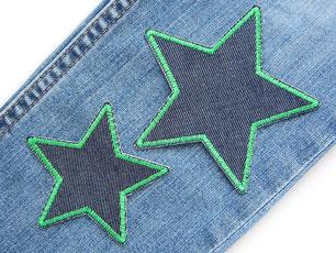 Bild: Jeanshose flicken, Flicken zum aufbügeln Stern dunkelblau grün, Bügelflicken für Jeanshose