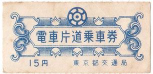 当時の都電の切符(博物館前の万世橋停留所で下車)