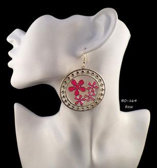 Boucles d'oreilles pendantes créoles dorées avec fleurs roses