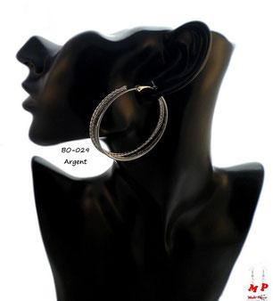 Boucles d'oreilles triple anneaux colés argentés