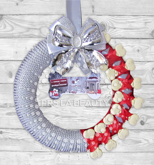 new year wreath; christmas wreath; dog bones; mutchy; red; silver; grey; white; design; exclusive; dog owner present; present for a dog; present with logo; buy; online; price; cost; Kiev; Ukraine; beautiful unusual dog christmas wreath; best ideas christm