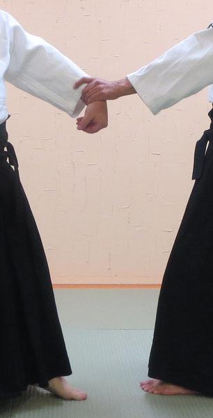 画像④掌に包み下段に与える魂氣、母指先は地を指す。