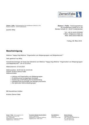 """Happy Dog-Webinar """"Organisation von Welpengruppen und Welpenkursen"""""""