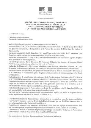 Agrément La Truite des Monédières_Page1