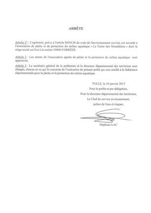 Agrément La Truite des Monédières_Page 2