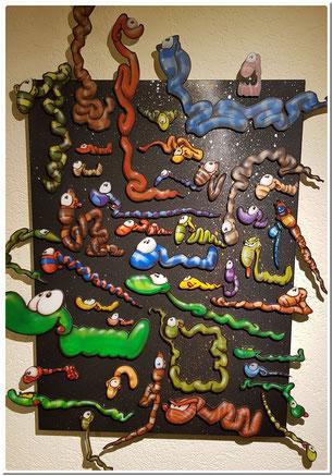 Magnet-Würmer aus Dibond Aluplatten