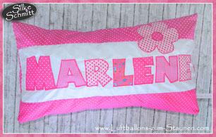 Geschenk Geburtstag Mädchen Taufe Kommunion Geburt Einschulung Namenskissen Kissen mit Namen zuckersüß verschicken