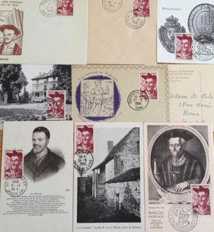 Documents philatéliques avec le timbre n°866 François Rabelais