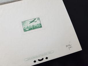 Épreuve de luxe du timbre PA 14 50 francs vert