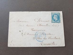 Lettre timbre classique paquebot pour Marseille