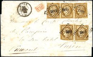 Lettre timbres classiques ceres n°1 Dijon
