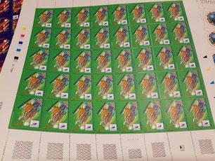 Feuille complète de 40 timbres Coupe du Monde 1998 à Saint Étienne