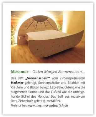 """Beitrag in der Zeitschrift Kraut & Rüben über unser metallfreies Zirbenbett """"Sonnenschein"""" mit echten Kräutereinlagen und LED-Beleuchtung"""