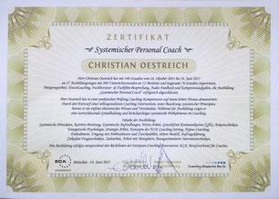 Zertifikat zum Systemischen Personal Coach. Die Ausbildung erfolgte entsprechend den Richtlinien der European-Coaching-Association, ECA, Berufsverband für Coaches.