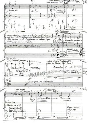"""Ursula Euteneuer-Rohrer, """"Mein blaues Klavier"""" für Sopran und Klavier (2018) UA Text: Else Lasker-Schüler- Partiturausschnitt experimenteller Mittelteil"""