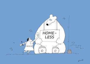 Cartoon Oliver Kock Mädchen schenkt heimatlosem Eisbär ein Eis