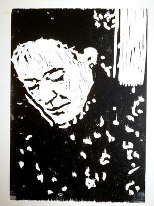 Dietmar Bous, Kunst, Druck, Radierungen, Oldenburg, Künstler, Holzschnitt, Frau B